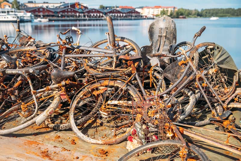 Bicycles pulled out of the canals in Amsterdam