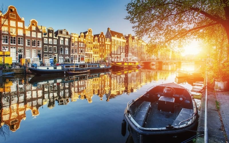 Boats in the Amsterdam canals