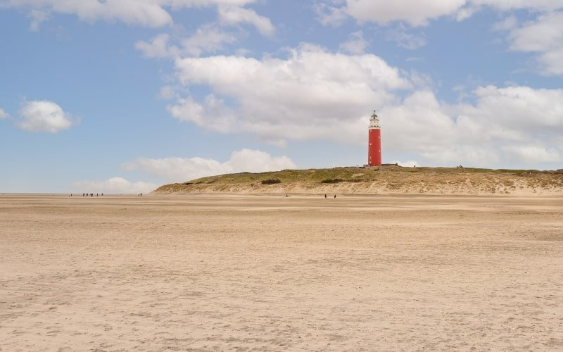 Visiting Texel Island - Beach view with lighthouse in the distance